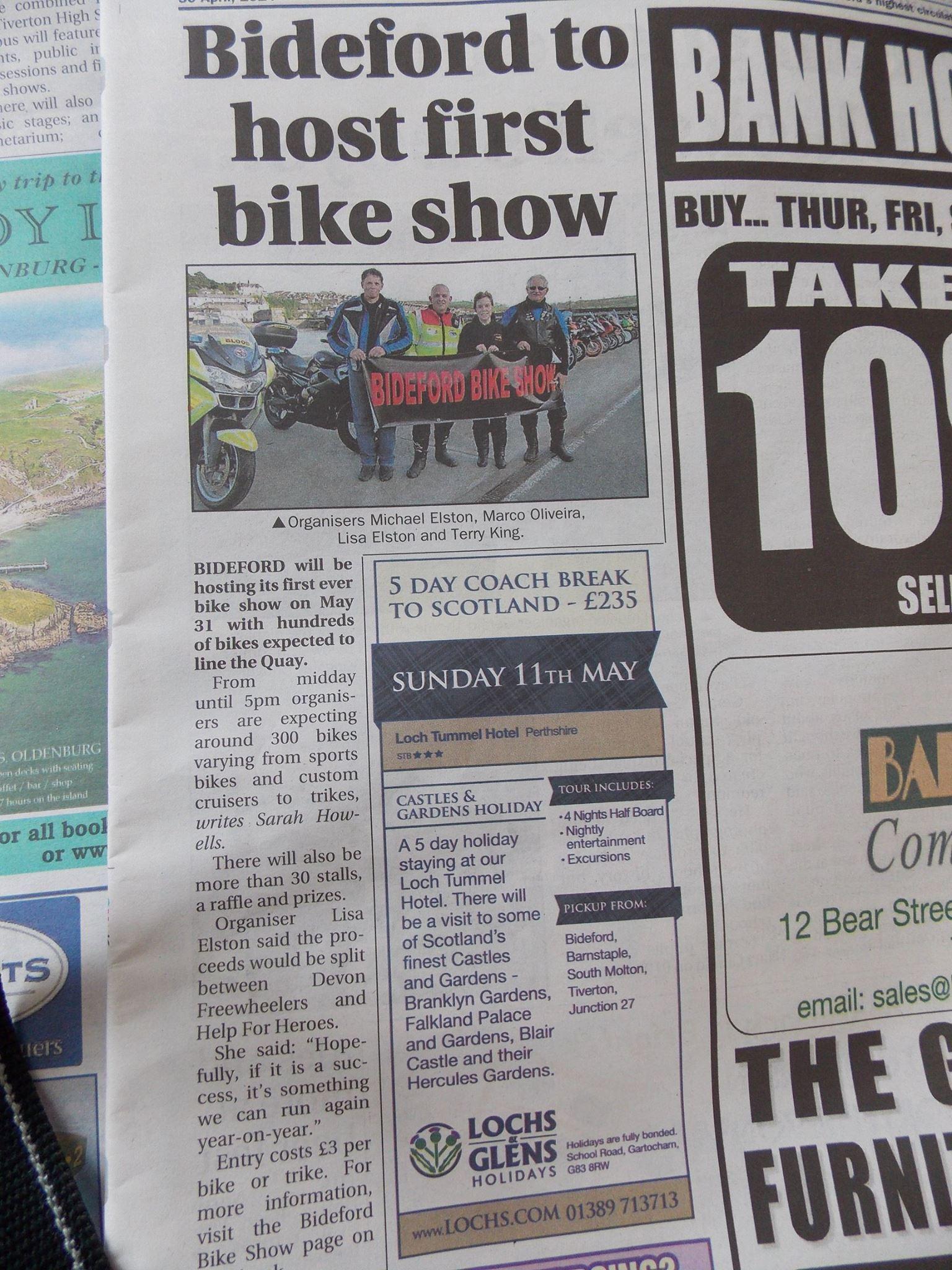 bideford bike show gazette promo article